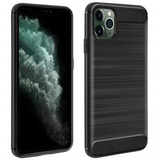 Apple iPhone 11 Pro Silikon Schutzhülle mit Carbon/Aluminium Look - Schwarz