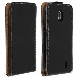 Vertikales Klappetui für Nokia 1, Cover mit Kartenfach â€? Schwarz