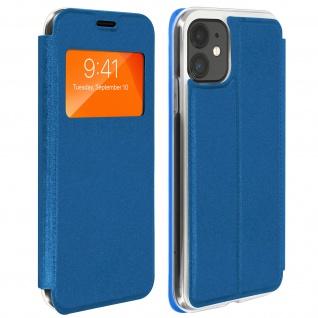 Apple iPhone 11 Kunstlederetui mit Sichtfenster & Kartenfach ? Blau