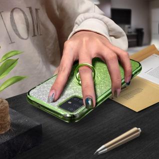 Glitter Silikonhülle mit Ring Halterung für Samsung Galaxy A51 - Grün - Vorschau 4