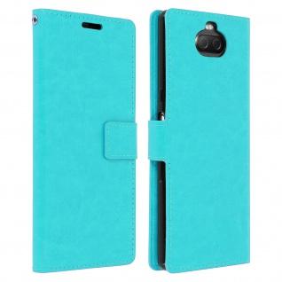 Flip Stand Cover Brieftasche & Standfunktion für Sony Xperia 10 - Türkisblau
