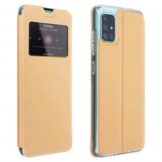 Samsung Galaxy A71 Kunstlederetui mit Sichtfenster & Kartenfach - Gold