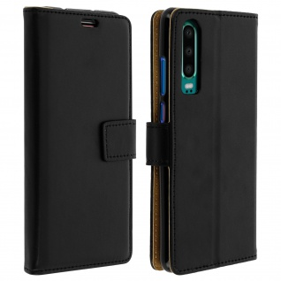 Soft Touch Flip-Cover Geldbörse mit Standfunktion für Huawei P30 - Schwarz