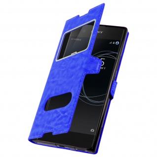 Ultradünne Doppel-Fenster Flip-Schutzhülle für Sony Xperia XA1 - Blau