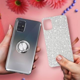 Glitter Silikonhülle mit Ring Halterung für Samsung Galaxy A51 - Silber - Vorschau 5