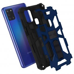 Samsung Galaxy A21s Handyhülle mit Ständer, Metallic Design - Blau