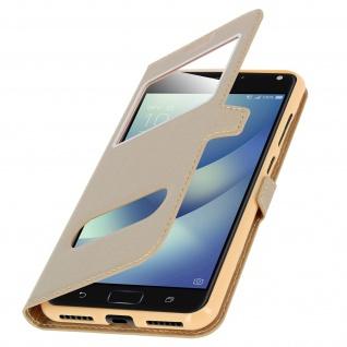 Ultradünnes Flip-Cover Doppelfenster für Asus Zenfone 4 Max ZC520KL - Gold