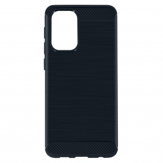 Samsung Galaxy A32 Schutzhülle mit Aluminium und Carbon Design ? Dunkelblau