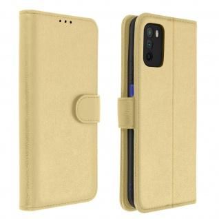 Flip Cover Geldbörse, Etui Kunstleder für Xiaomi Poco M3 ? Gold