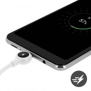 Micro-USB / USB Nylon Kabel, Lade- & Synchronisationskabel, 2A - Weiß - Vorschau 4
