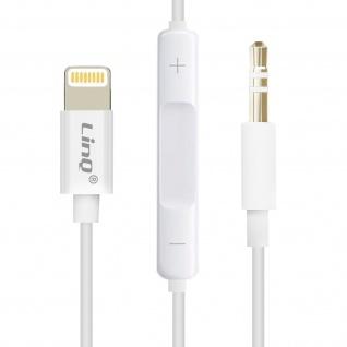 LinQ weißer Lightning auf 3.5mm Klinkenanschluss Audioadapter mit Fernbedienung