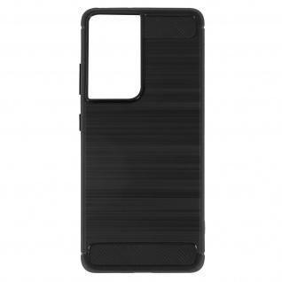 Samsung Galaxy S21 Ultra Schutzhülle mit Aluminium und Carbon Design ? Schwarz
