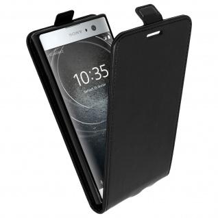 Vertikales Klappetui für Sony Xperia XA2, Cover mit Kartenfach - Schwarz