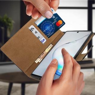 Samsung Galaxy Note 10 Cover aus Echtleder mit Standfunktion- Schwarz - Vorschau 3