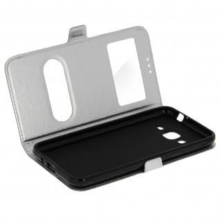 Ultradünne Doppel-Fenster Flip-Schutzhülle für Samsung Galaxy J3 - Silber