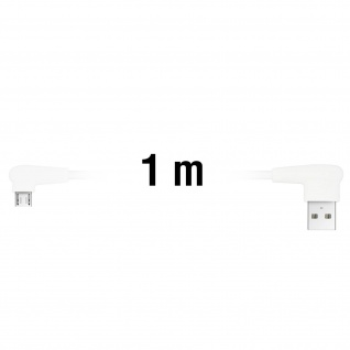 Inkax USB-Kabel mit Micro-USB Stecker 2.1A 90 Grad abgewinkelt - Weiß - Vorschau 3