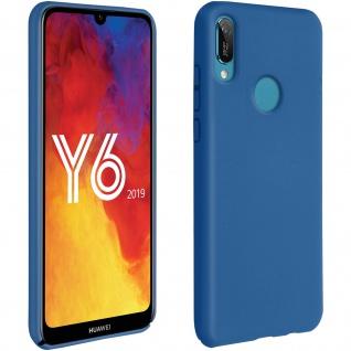 Halbsteife Silikon Handyhülle Huawei Y6 2019, Soft Touch - Dunkelblau