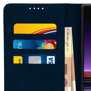 Flip Cover Geldbörse, Kunstleder Klappetui für Sony Xperia 1 - Dunkeblau - Vorschau 5