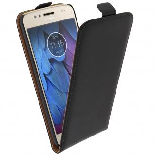 Vertikale Flip-Schutzhülle Motorola Moto G5S aus Echtleder - Schwarz