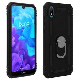 Hybrid Handyhülle mit Ring Halterung für Huawei Y5 2019, Honor 8S - Schwarz