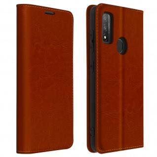 Business Leder Cover, Schutzhülle mit Geldbörse Huawei P Smart 2020 ? Braun