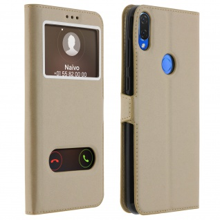 Huawei P Smart Plus Flip Cover mit Doppelfenster & Standfunktion - Gold