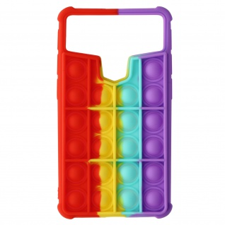 Bubble Pop Hülle für 5.3 - 5.6 Zoll Smartphones - Rot / Gelb / Türkis / Violett
