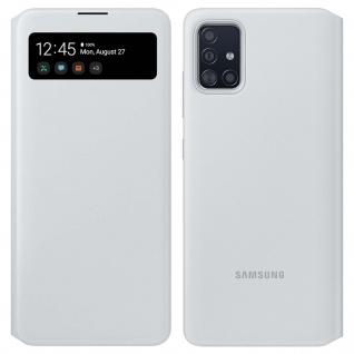 Original Samsung S View Wallet Cover, Klapphülle für Samsung Galaxy A71 â€? Weiß
