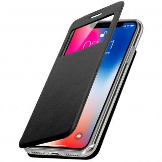Apple iPhone X Flip-Schutzhülle mit Sichtfenster und Kartenfach - Schwarz - Vorschau 1