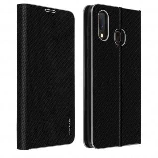Samsung Galaxy A20e Klappetui, Cover mit Carbon Design & Ständer - Schwarz