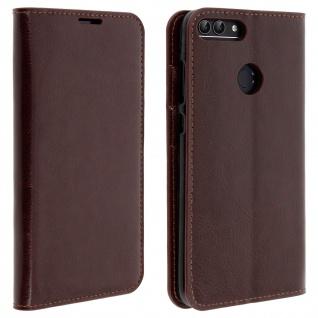 Business Leder Cover, Schutzhülle mit Geldbörse für Huawei P Smart - Braun