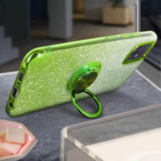 Glitter Silikonhülle mit Ring Halterung für Samsung Galaxy A51 - Grün - Vorschau 3