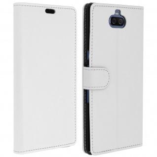 Soft Touch Flip-Cover Geldbörse mit Standfunktion für Sony Xperia 10 Plus - Weiß