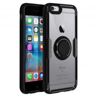 Stoßfeste Handyhülle mit Ring Halterung für Apple iPhone 6 / 6S - Schwarz