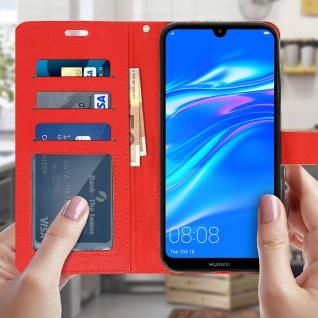Flip Stand Cover Brieftasche & Standfunktion für Huawei Y7 2019 - Rot - Vorschau 3