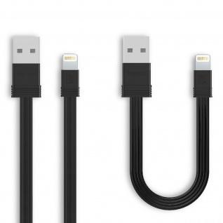 2x iPhone/iPad Stecker auf USB Kabel, 0, 16m + 1m, Aufladen&Sync, Remax - Schwarz - Vorschau 2
