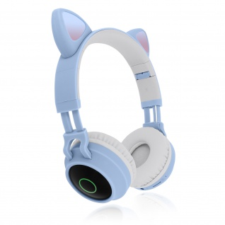 Katzenohren kabellose Bluetooth Kopfhörer, Kitty Headset ? Hellblau - Vorschau 2