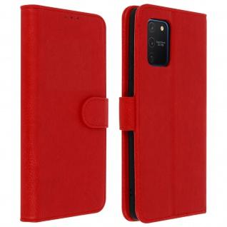 Flip Cover Geldbörse, Klappetui Kunstleder für Samsung Galaxy S10 Lite - Rot