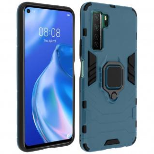 Stoßfeste Handyhülle Huawei P40 Lite 5G mit Ring-Halterung - Blau