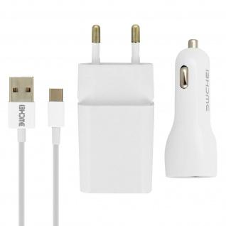 Ladegerät-Set Wand-Ladegerät 2.1 A + KFZ-Ladegerät + USB-Typ C Kabel 1m - Weiß