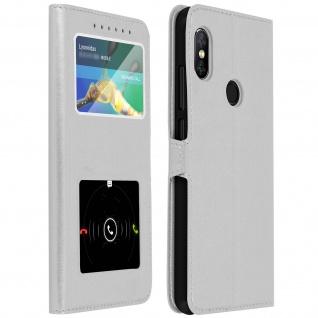 Xiaomi Note 5, Klappetui mit Doppelfenster & Standfunktion - Silber