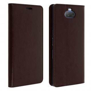 Business Leder Cover, Schutzhülle mit Geldbörse für Sony Xperia 10 - Braun