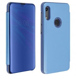 Honor 8A , Huawei Y6 2019 Flip Cover mit Spiegeleffekt & Standfunktion - Blau