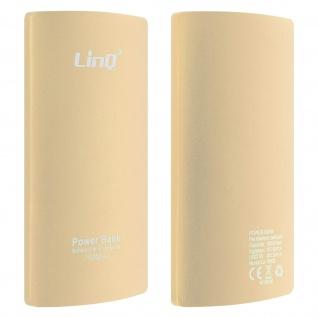 10 000mAh PowerBank, 2A USB 2-in-1 Lightning / Micro USB Kabel LinQ - Gold