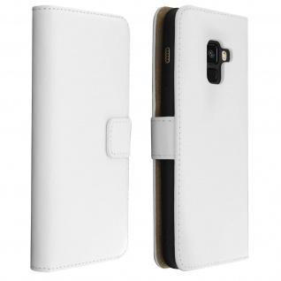 Flip Cover Echtleder mit Standfunktion & Kartenfach Galaxy A8 2018 - Weiß