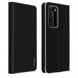 Huawei P40 Pro Klappetui, Cover mit Carbon Design & Ständer - Schwarz