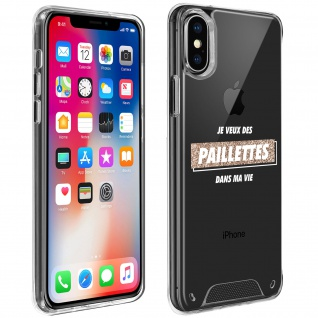 "Handyhülle für Apple iPhone X / XS, Made in France ? "" Paillettes"" Design"