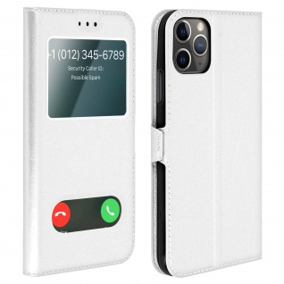 Apple iPhone 11 Pro Flip Cover Doppelfenster & Standfunktion - Silber