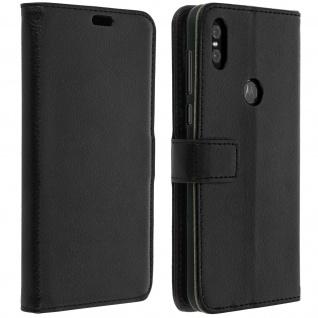 Flip Cover Stand Case Brieftasche & Standfunktion für Motorola One - Schwarz