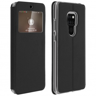 Huawei Mate 20 Flip Cover, Klappetui mit Sichtfenster & Kartenfach ? Schwarz